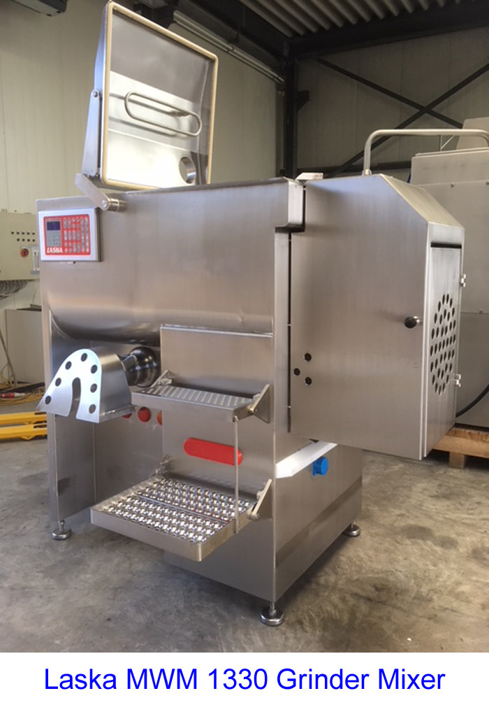 Laska MWM 1330 Grinder Mixer with Cooling Option and 200 Tote Bin Loader