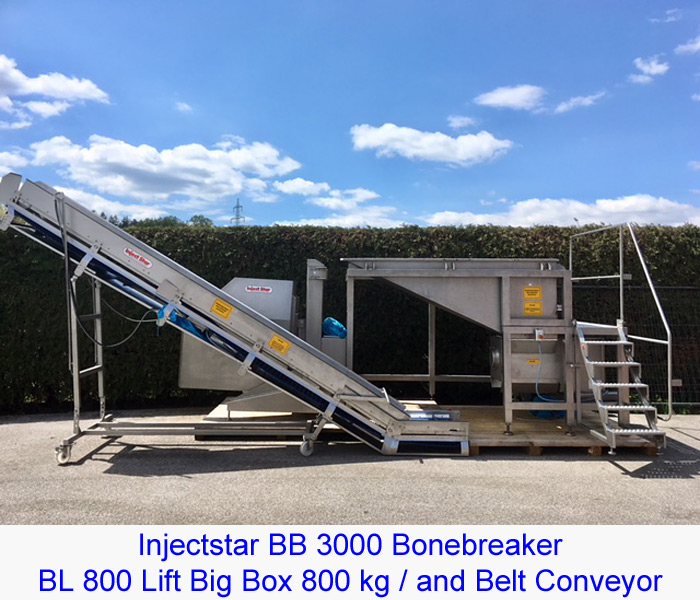 Injectstar BB 3000 Bonebreaker/ BL 800 Lift Big Box 800 kg / and Belt Conveyor